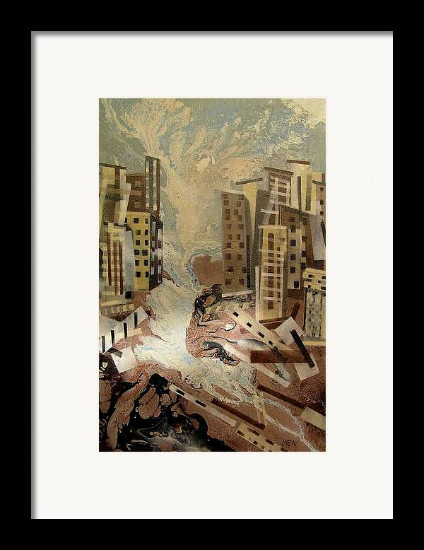 Framed Print featuring the painting Skyleaking City by Evguenia Men