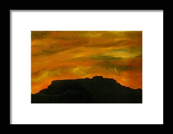 Landscape Framed Print featuring the painting Sleepy Woman by Guillermo Mason