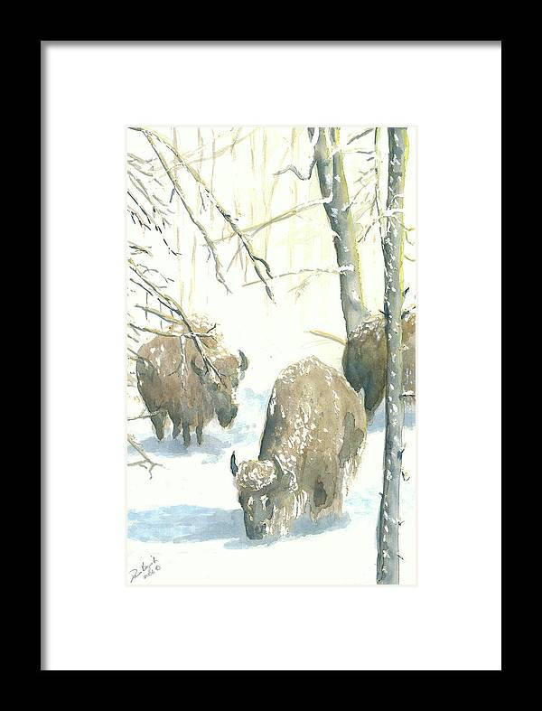 Buffalos After Snowstorm Framed Print featuring the painting Snow Buffs by Dan Bozich