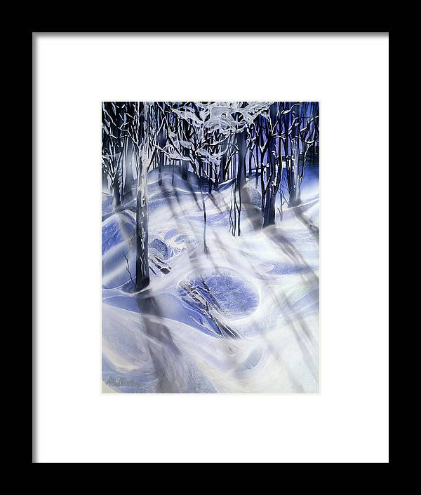 Landscape Framed Print featuring the painting Snow by Milada Kessling