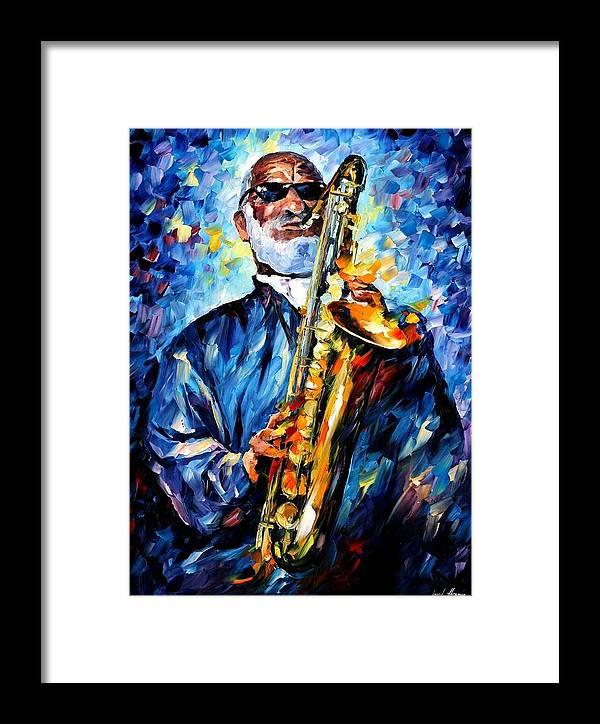 Afremov Framed Print featuring the painting Sonny Rollins by Leonid Afremov