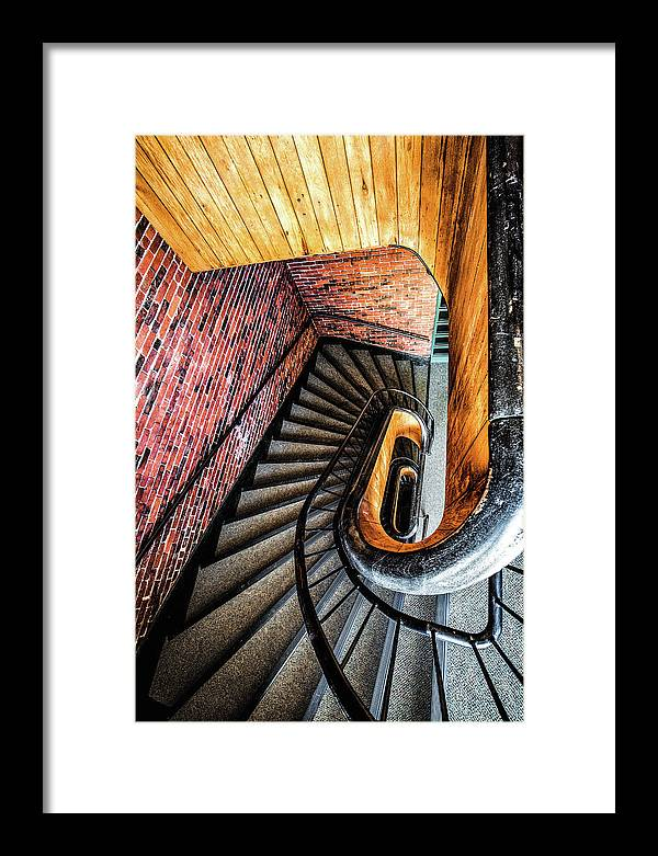 155 Dow Street Framed Print featuring the photograph Spiral Stairwell by Robert Clifford