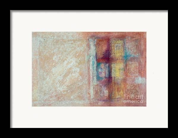 Mixed-media Framed Print featuring the painting Spirit Matter Cosmos by Kerryn Madsen-Pietsch