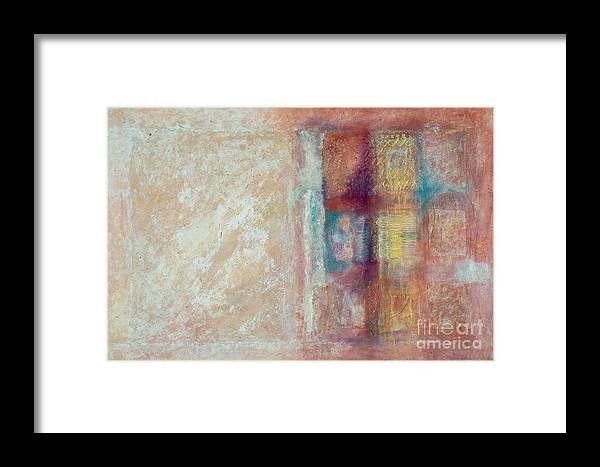 Mixed-media Framed Print featuring the painting Spirit Matter Cosmos by Kerryn Madsen-Pietsch