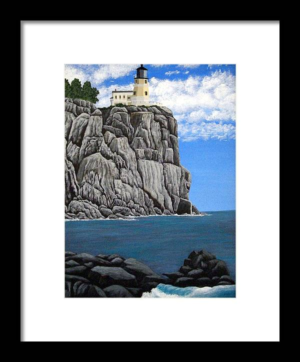 Lighthouse Paintings Framed Print featuring the painting Split Rock Lighthouse by Frederic Kohli