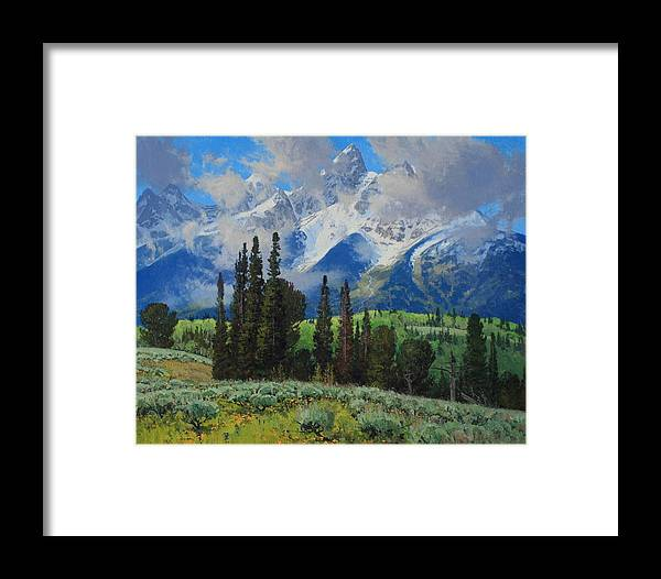 Landscape Framed Print featuring the painting Spring Ascension by Lanny Grant