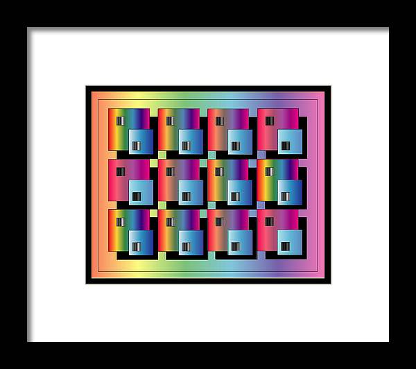 Abstract Framed Print featuring the digital art Squares by George Pasini