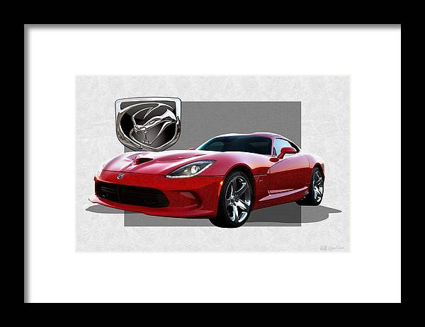 'dodge Viper' By Serge Averbukh Framed Print featuring the photograph S R T Viper with 3 D Badge by Serge Averbukh
