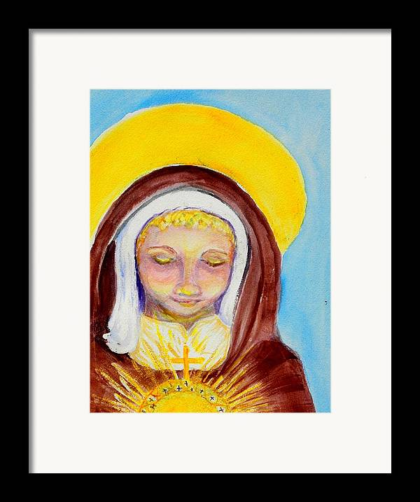 St. Clare Framed Print featuring the painting St. Clare Of Assisi by Susan Clark