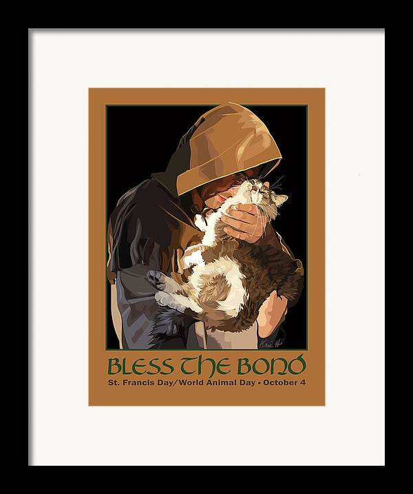 Animal Framed Print featuring the digital art St. Francis With Cat by Kris Hackleman