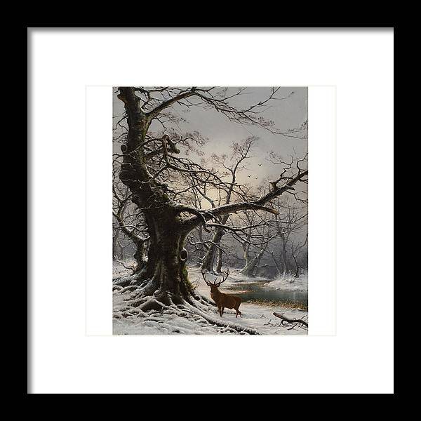 Nils Hans Christiansen (danish 1850-1922) Stag In A Snow Covered Wooded Landscape Framed Print featuring the painting Stag In A Snow Covered Wooded Landscape by MotionAge Designs