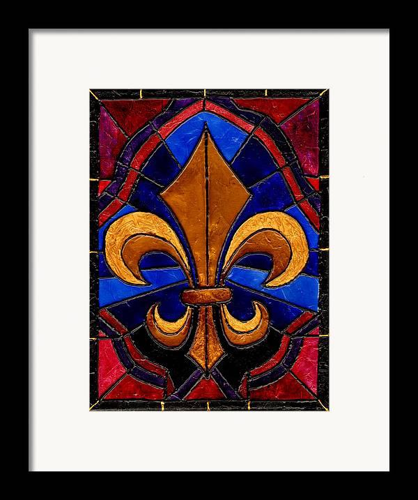 Stained Glass Fleur De Lis Framed Print By Elaine Hodges