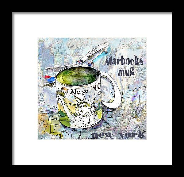 Mugs Art Framed Print featuring the painting Starbucks Mug New York by Miki De Goodaboom