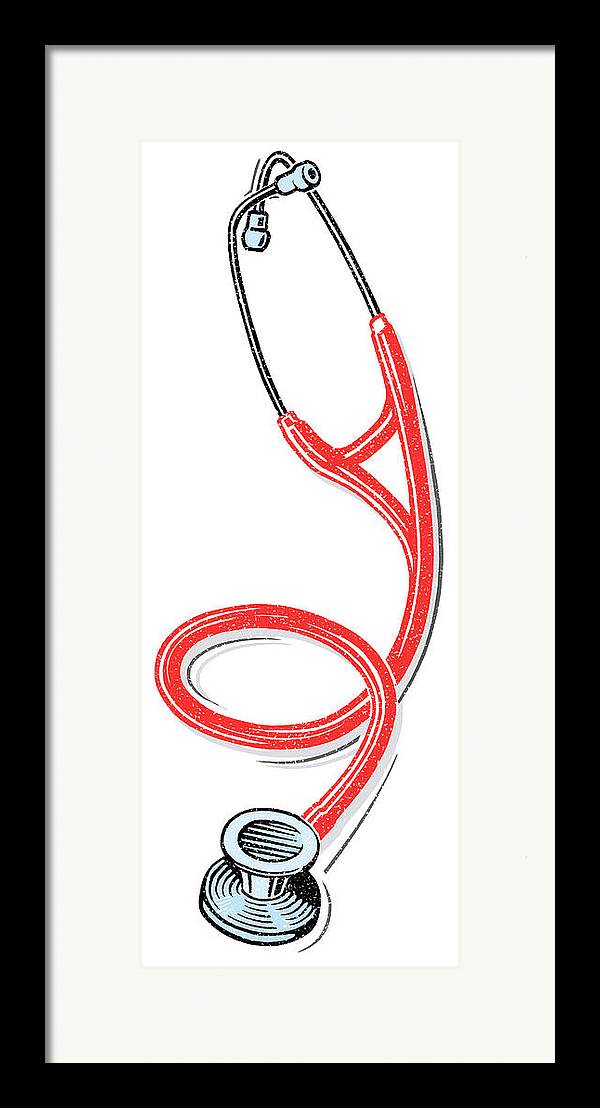 Stethoscope Framed Print featuring the photograph Stethoscope, Lino Print by Gary Hincks