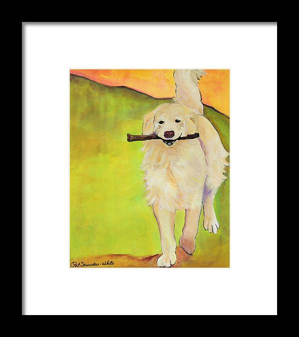 Dog Portraits Framed Print featuring the painting Stick Together by Pat Saunders-White