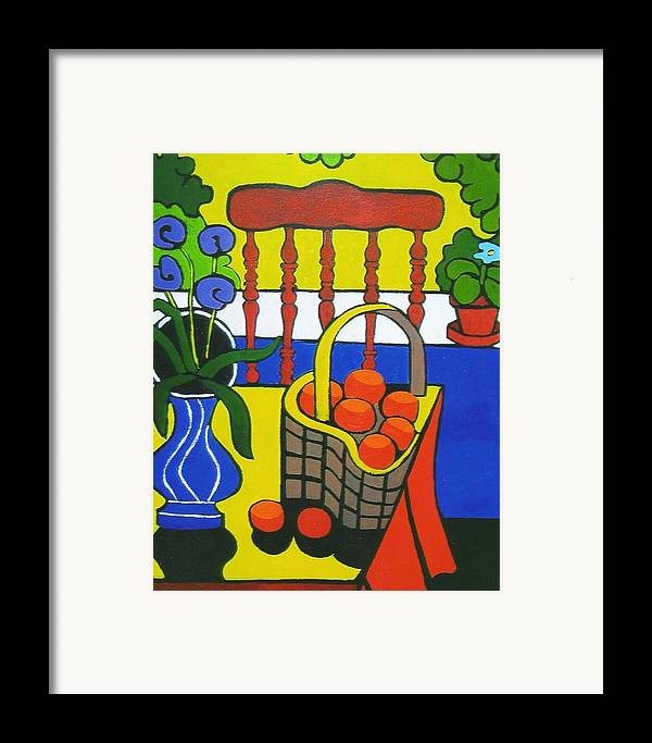 Still Life Framed Print featuring the painting Still Life With Red Chair And Oranges by Nicholas Martori