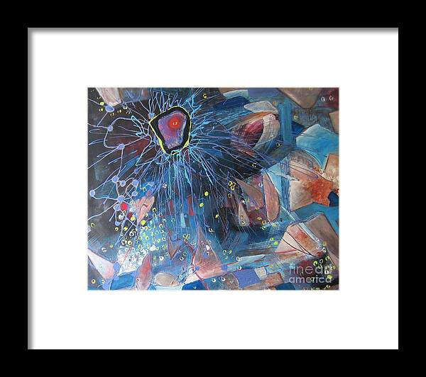 Abstract Paintings Framed Print featuring the painting Storm At Sea by Seon-Jeong Kim