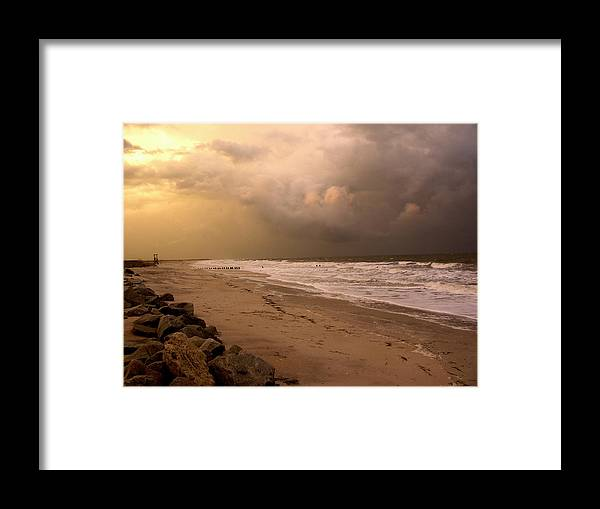 Sea Gull Framed Print featuring the photograph Storm On The Beach by Paul Boroznoff