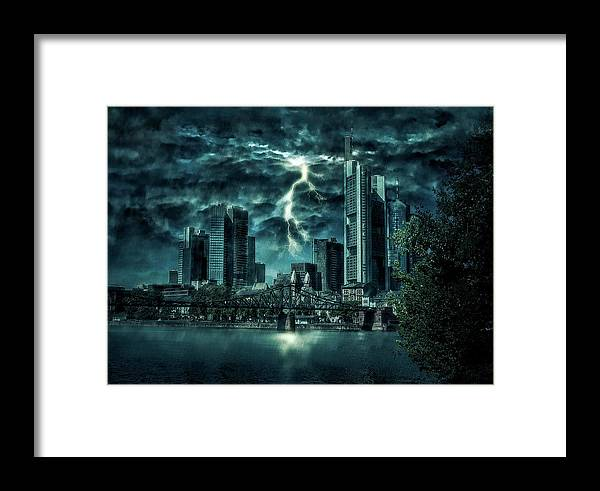 Frankfurt Framed Print featuring the photograph Storm Over Frankfurt by Reinhold Silbermann