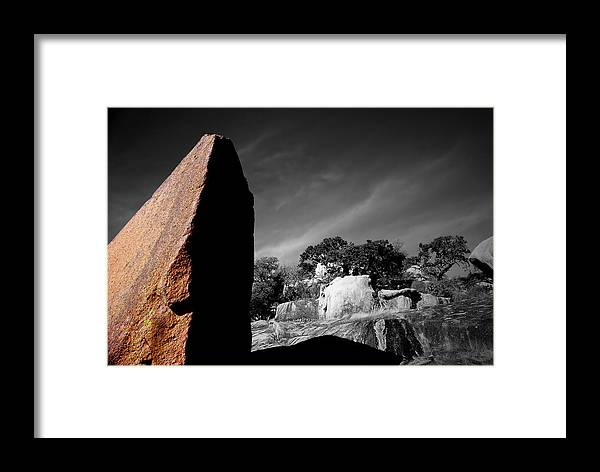 Landscapes Framed Print featuring the photograph Straight Edge Boulder Enchanted Rock Texas by Tom Fant
