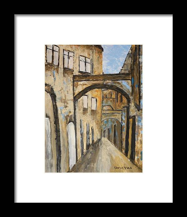 Sanremo Framed Print featuring the painting Street by Maria Karalyos