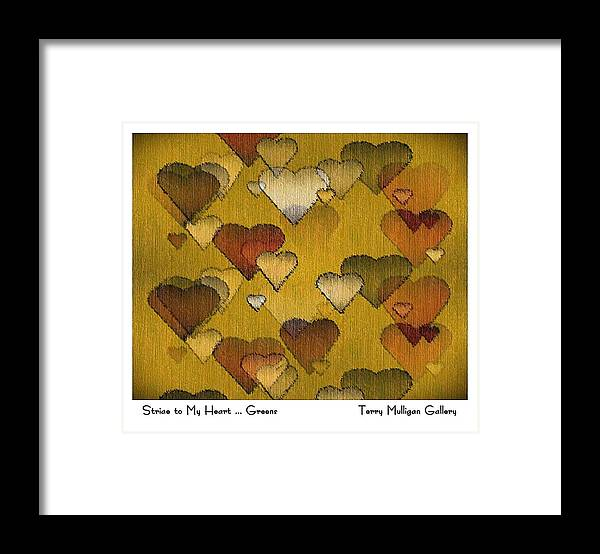 Striae Framed Print featuring the digital art Striae To My Heart ... Greens by Terry Mulligan