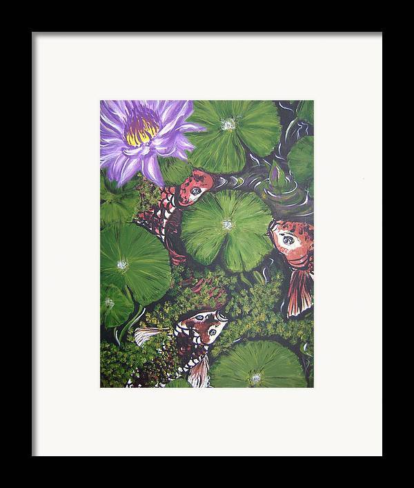 Koi Framed Print featuring the painting Summer Pond by Laura Johnson