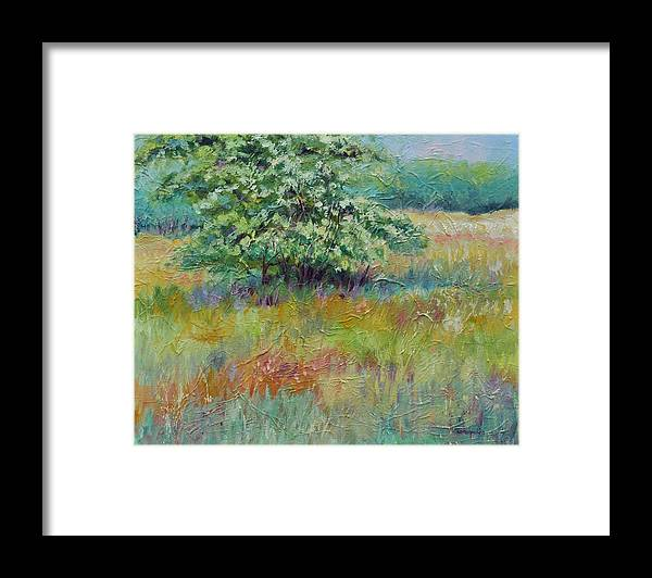 Summer Landscapes Framed Print featuring the painting SummerTree by Ginger Concepcion