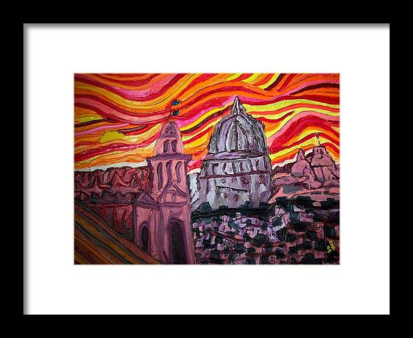 Sienna Italy Framed Print featuring the painting Sun At Night Siennas Delight by Ira Stark