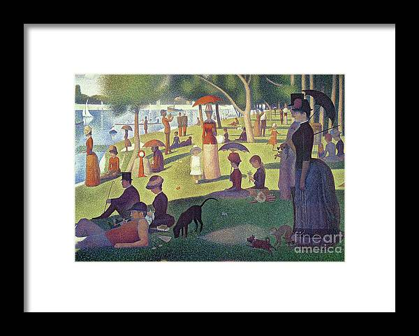 Sunday Afternoon On The Island Of La Grande Jatte Framed Print featuring the painting Sunday Afternoon on the Island of La Grande Jatte by Georges Pierre Seurat