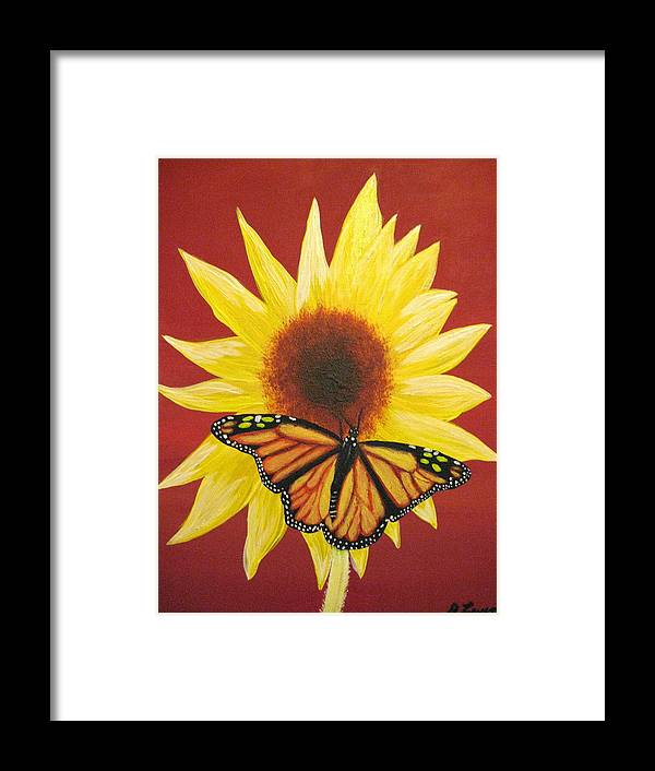 Sunflower Framed Print featuring the painting Sunflower Monarch by Debbie Levene