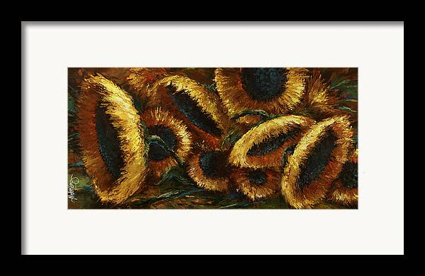 Sunflowers Framed Print featuring the painting Sunflowers by Michael Lang