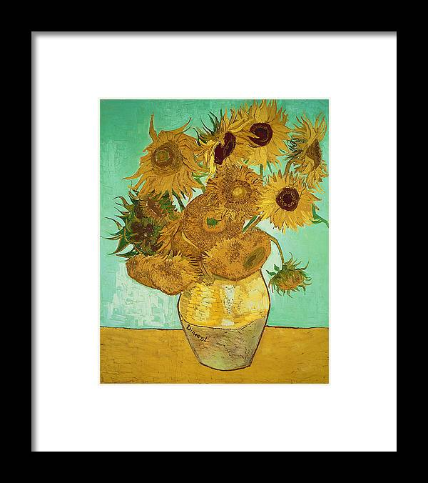 Sunflowers Framed Print featuring the painting Sunflowers by Van Gogh by Vincent Van Gogh