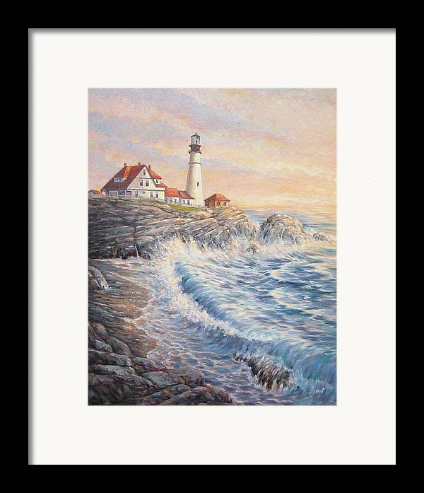 Lighthouse Framed Print featuring the painting Sunrise Light by Don Trout