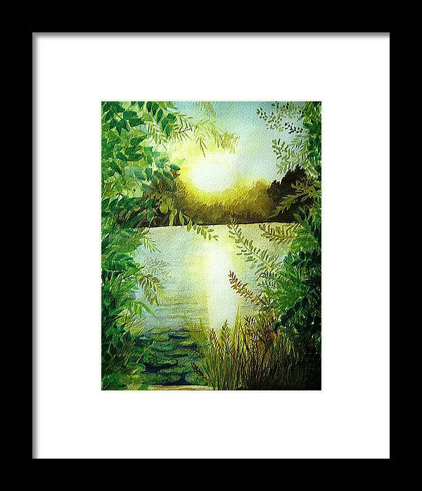 Landscape Framed Print featuring the painting Sunset At Mill Lake by Vivian Mosley