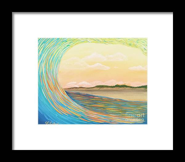 Ocean Framed Print featuring the painting Sunset Curl by Jenn C Lindquist