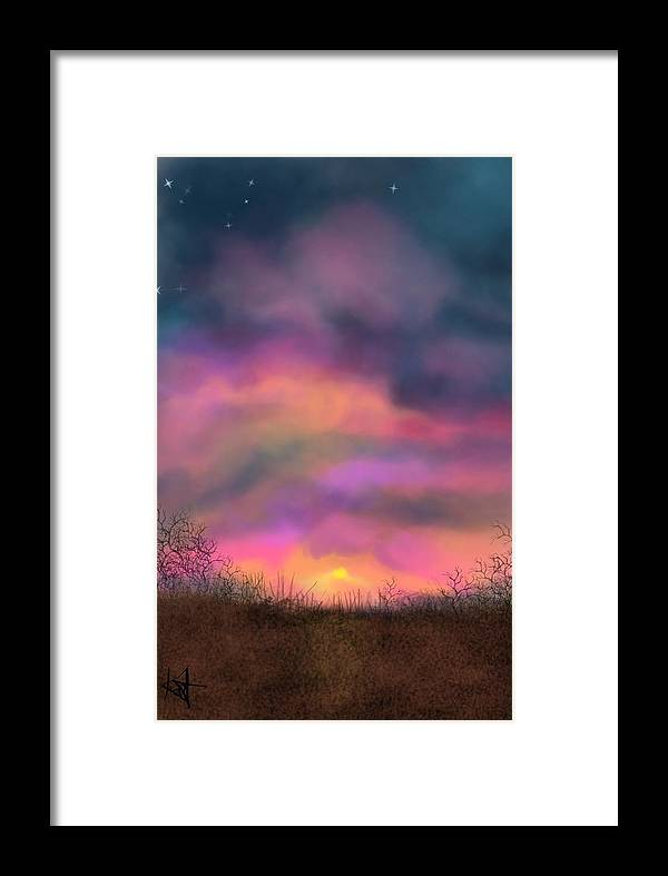 Sunsets Framed Print featuring the digital art Sunset by Kathleen Hromada