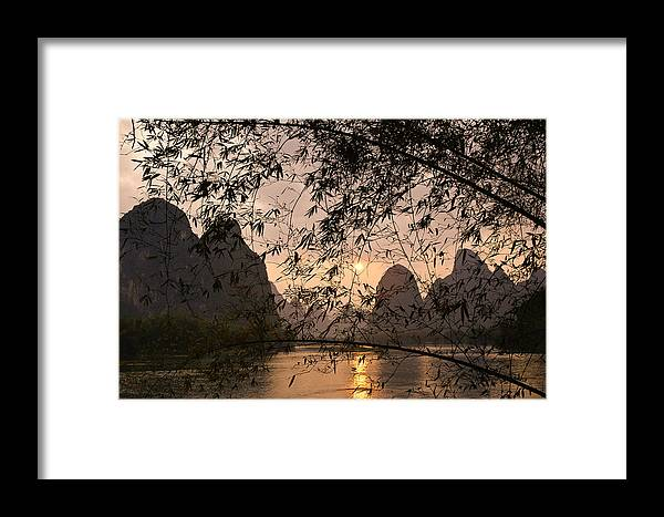 Asia Framed Print featuring the photograph Sunset On The Li River by Michele Burgess