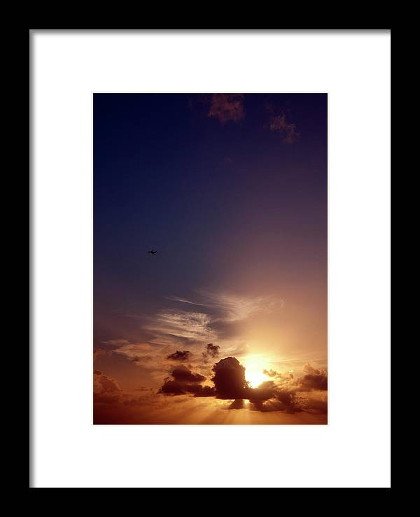 Sunset Framed Print featuring the pyrography Sunset St. Thomas by Heather Fiedler