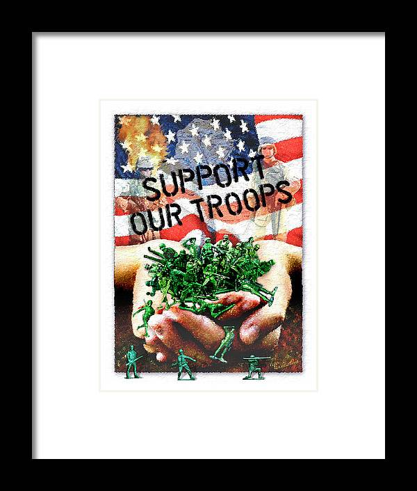 Troops Framed Print featuring the mixed media Support Our Troops by Ernestine Grindal