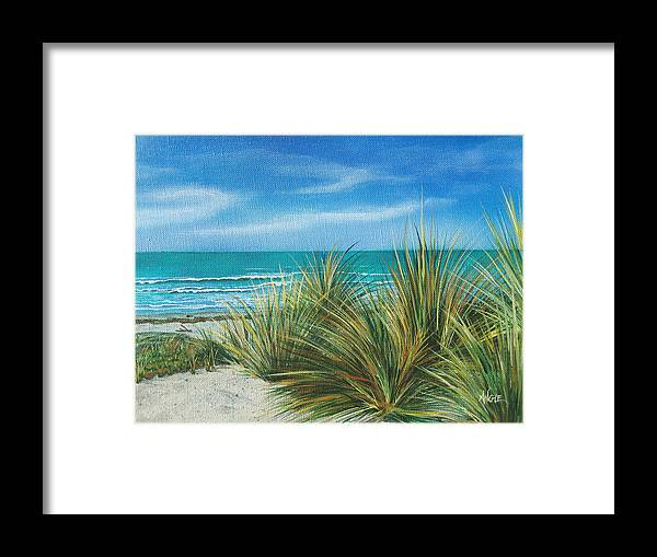 Sea Grass Framed Print featuring the painting Surf Beach by Angie Hamlin
