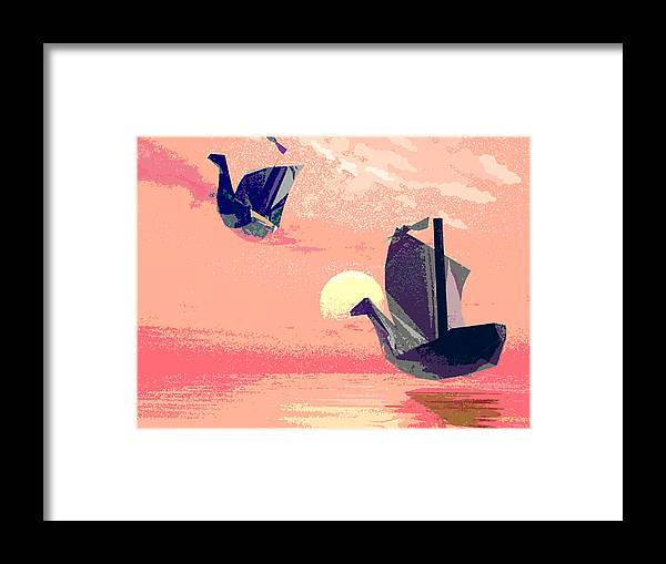 Ship Framed Print featuring the digital art Swan Ships Leaving The Sea by Alexandra Cook