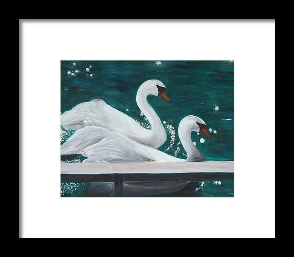 Animals Framed Print featuring the painting Swans by Taly Bar
