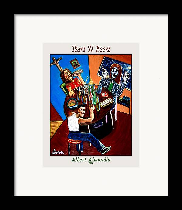 Day Of The Dead Framed Print featuring the painting Tears 'n Beers by Albert Almondia