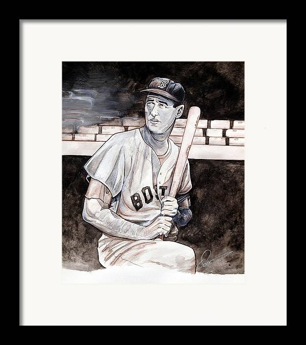 Ted Williams Framed Print featuring the painting Ted Williams by Dave Olsen