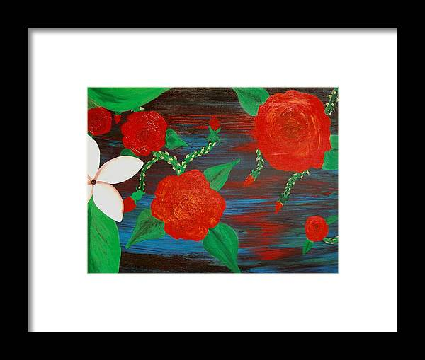 Roses Framed Print featuring the painting Temper Temper by Laurette Escobar