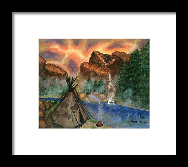Tepee Framed Print featuring the painting Tepee Across from the Misty Hills by Tanna Lee M Wells