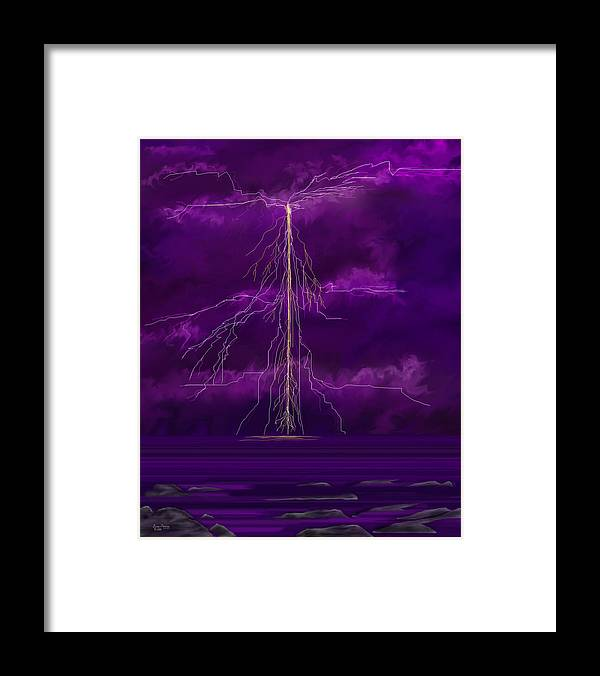 Lightning Storm Framed Print featuring the painting Tesla by Anne Norskog