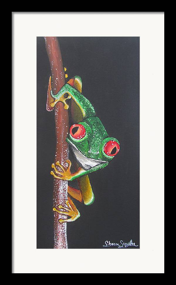 Frog Framed Print featuring the painting That Makes You The Fly by Sharon Supplee