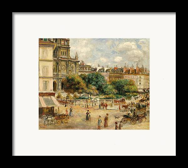 Impressionist; Impressionism; Landscape; River; Town; Tree; People Framed Print featuring the painting The Banks Of The Seine At Bougival by Pierre Auguste Renoir